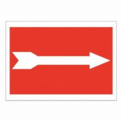 Brady® 25766 Rectangle Exit and Directional Sign, No Header, 7 in H x 10 in W, Red on white, B-401 Plastic, Surface Mounting