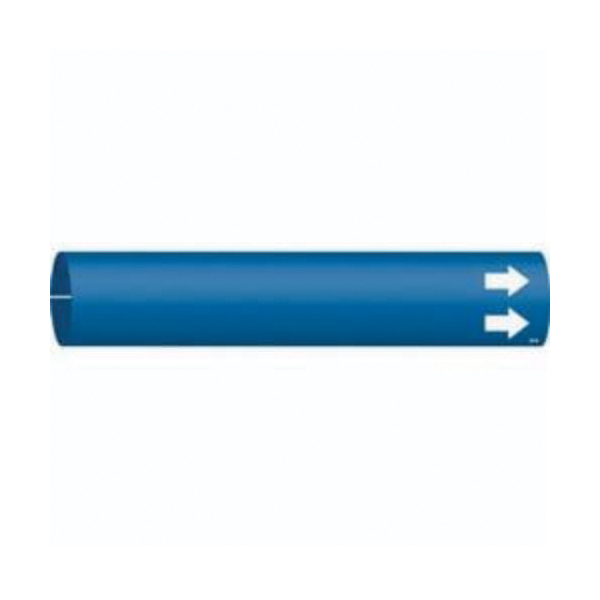 Brady® 41907 General Purpose Style A Pipe Marker, (BLANK) Legend, Blue, Fits Pipe Dia: 3/4 to 1-3/8 in, 1 in H x 8 in W, B-915 Plastic, Snap-On Mount