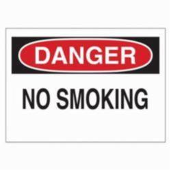 Brady® 47010 Rectangle No Smoking Sign, DANGER, 10 in H x 14 in W, Black/Red on white, B-120 Premium Fiberglass, Surface Mounting