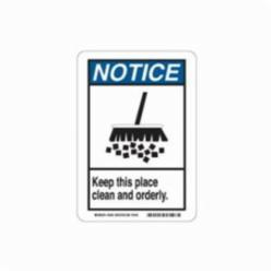 Brady® 45104 Rectangle Safety Sign, NOTICE, Text/Symbol, KEEP THIS PLACE CLEAN AND ORDERLY (W/PICTO), B-401 Polystyrene, Corner Hole Mounting, 14 in H x 10 in W, Black/Blue on white, English