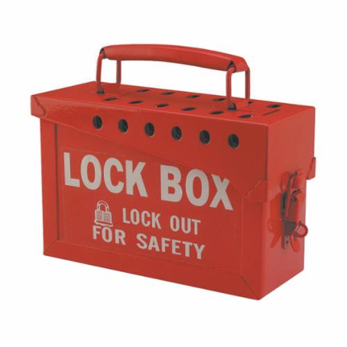 Brady® 65699 Empty Group Lockout Box, 13 Padlocks, Hinged Door, Red, 6 in H x 9 in W x 3-1/2 in D, Portable Mount
