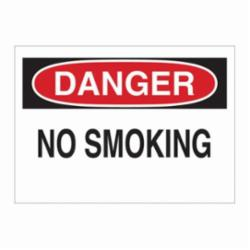 Brady® 88370 Rectangle No Smoking Sign, DANGER, 7 in H x 10 in W, Black/Red on white, B-302 Polyester, Surface Mounting