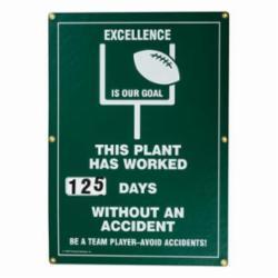 Brady® Prinzing® SM349E Rectangle Safety Scoreboard, No Header, 28 in H x 20 in W, Green, Polyethylene