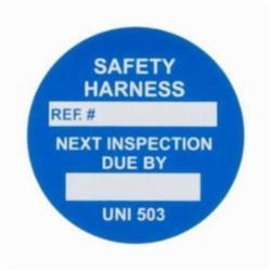Brady® 104167 Circular Universal Safety Harness Tag Insert, White on Blue, B-874 PVC