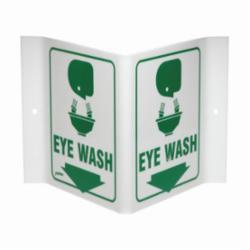 Brady® Prinzing® V1EW03A Rectangular Eye Wash Sign, 6 in H x 9 in W, Green on White, Acrylic, Corner Hole/V-Shape Projecting Mount