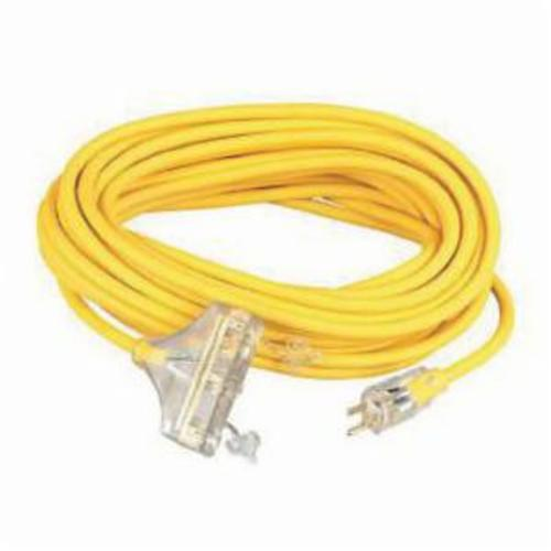 CCI® Tri-Source® 04188 SJTW Extension Cord With Neon Power Indicator Light, 15 A/125 VAC, 12/3 AWG, 50 ft L Cord