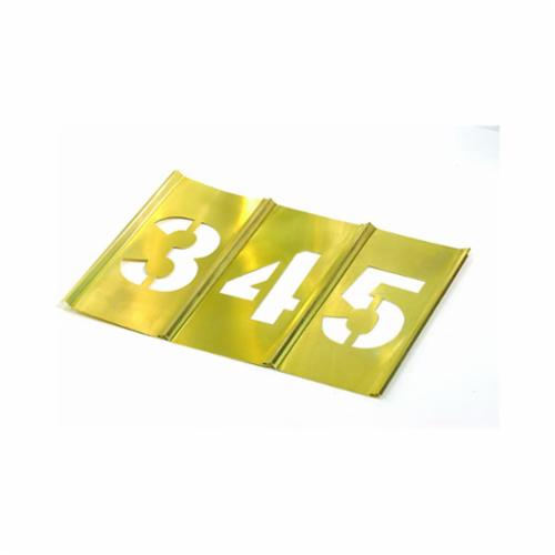 C.H.Hanson® 10011 15-Piece Interlocking Reusable Single Number Stencil Set, 2 in H, Gold, 28 ga Brass