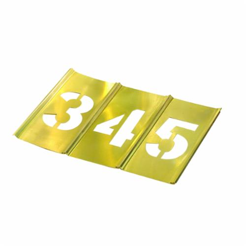 C.H.Hanson® 10014 15-Piece Interlocking Reusable Single Number Stencil Set, 4 in H, Gold, 28 ga Brass