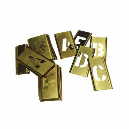 C.H.Hanson® 10028 33-Piece Interlocking Reusable Single Letter Stencil Set, 1 in H, Gold, 28 ga Brass