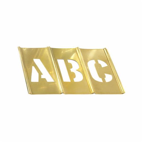 C.H.Hanson® 10033 33-Piece Interlocking Reusable Single Letter Stencil Set, 3 in H, Gold, 28 ga Brass