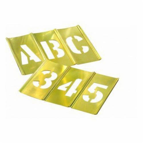 C.H.Hanson® 10074 45-Piece Interlocking Reusable Single Letter and Number Stencil Set, 4 in H, Gold, 28 ga Brass