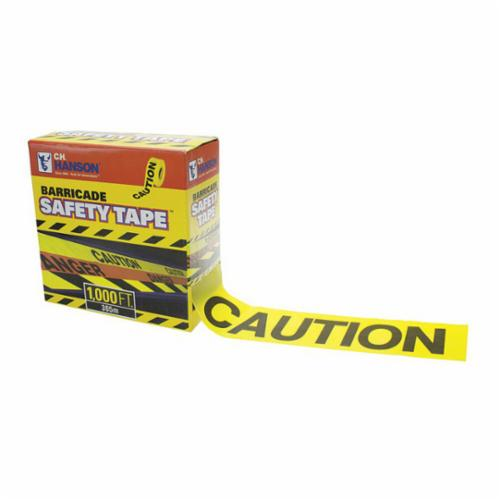 C.H.Hanson® 14090 Barricade Safety Tape With Dispenser Box, Yellow, 1000 ft L x 3 in W, Caution Legend, Polyethylene