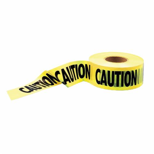 C.H.Hanson® 14995 Heavy Duty Barricade Safety Tape, Yellow, 1000 ft L x 3 in W, Caution Legend, Polyethylene