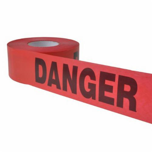 C.H.Hanson® 14998 Heavy Duty Barricade Safety Tape, Red, 1000 ft L x 3 in W, DANGER Legend, Plastic