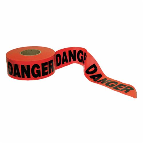 C.H.Hanson® 16003 Standard Grade Barricade Safety Tape, Red/Black, 1000 ft L x 3 in W, Danger Danger Legend, Polyethylene