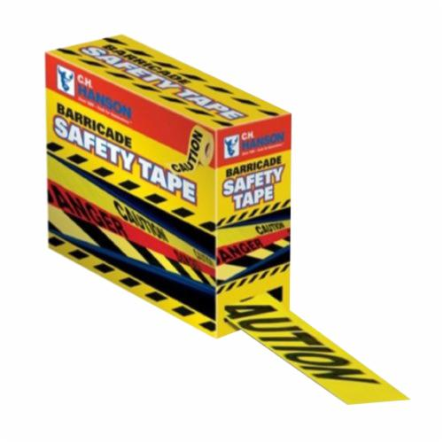 C.H.Hanson® 16090 Standard Grade Barricade Safety Tape With Dispenser, Yellow/Black, 1000 ft L x 3 in W, Caution Legend, Polyethylene