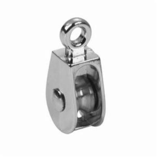 Campbell® T7655062 Rigid Single Sheave Eye Pulley, 1/2 in, 3/16 in, 30 lb, Die Cast Zinc, Triple Copper/Nickel Plated