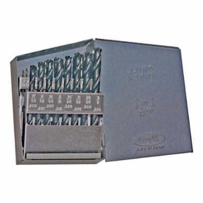 Chicago-Latrobe® 57712 150 Jobber Length Drill Set, 1/16 in Min Drill Bit, 3/8 in Max Drill Bit, 118 deg Drill Point Angle, 21 Pieces, HSS, Steam Oxide
