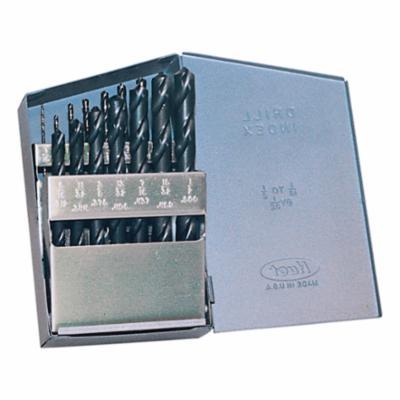 Chicago-Latrobe® 57713 150 Jobber Length Drill Set, 1/16 in Min Drill Bit, 1/2 in Max Drill Bit, 118 deg Drill Point Angle, 15 Pieces, HSS, Steam Oxide