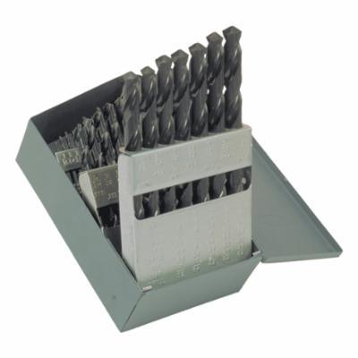 Chicago-Latrobe® 57714 150 Jobber Length Drill Set, 1/16 in Min Drill Bit, 1/2 in Max Drill Bit, 118 deg Drill Point Angle, 29 Pieces, HSS, Steam Oxide