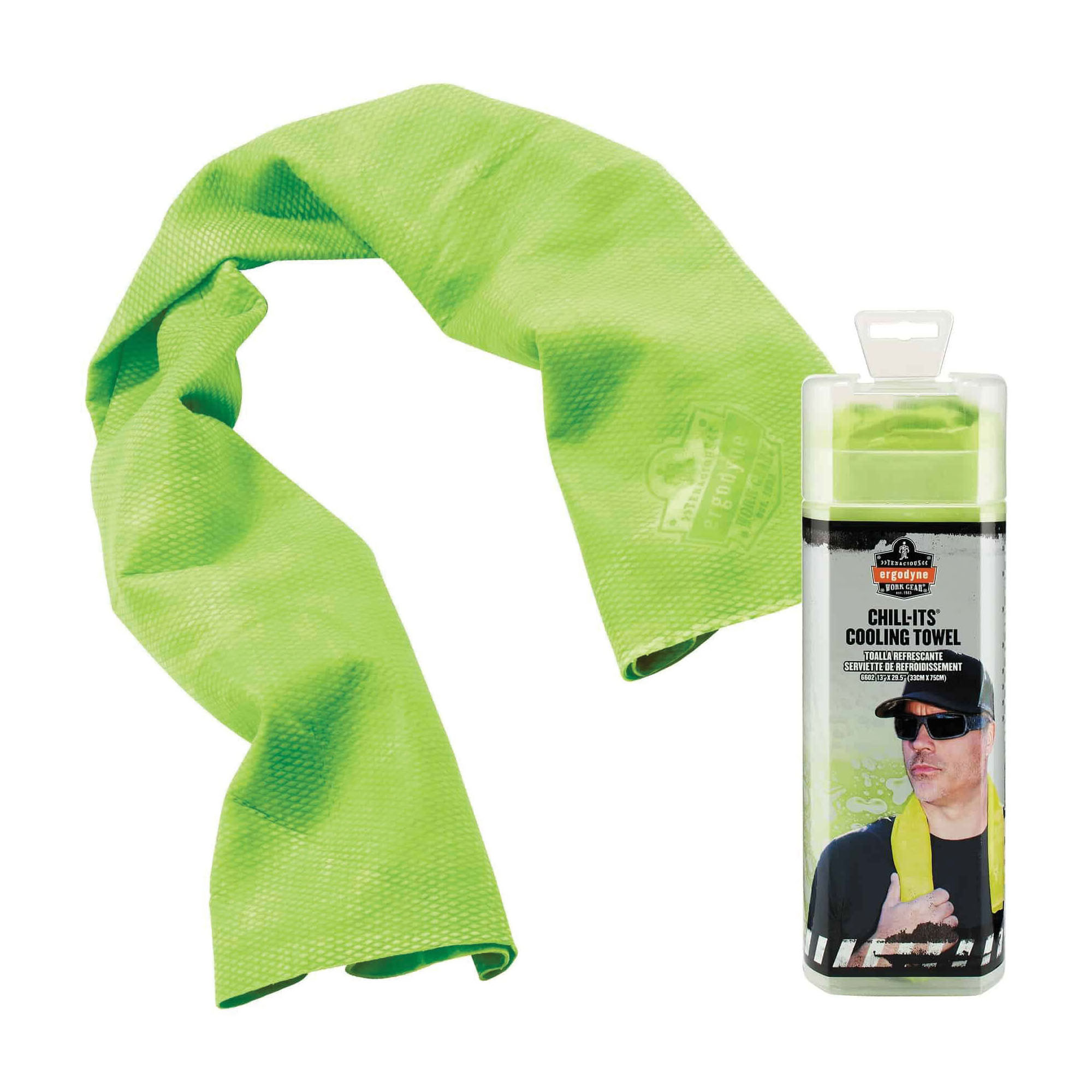Chill-Its® 12439 6602 Evaporative Cooling Towel, 13 x 29-1/2 in, Hi-Viz Lime, Polyvinyl Alcohol