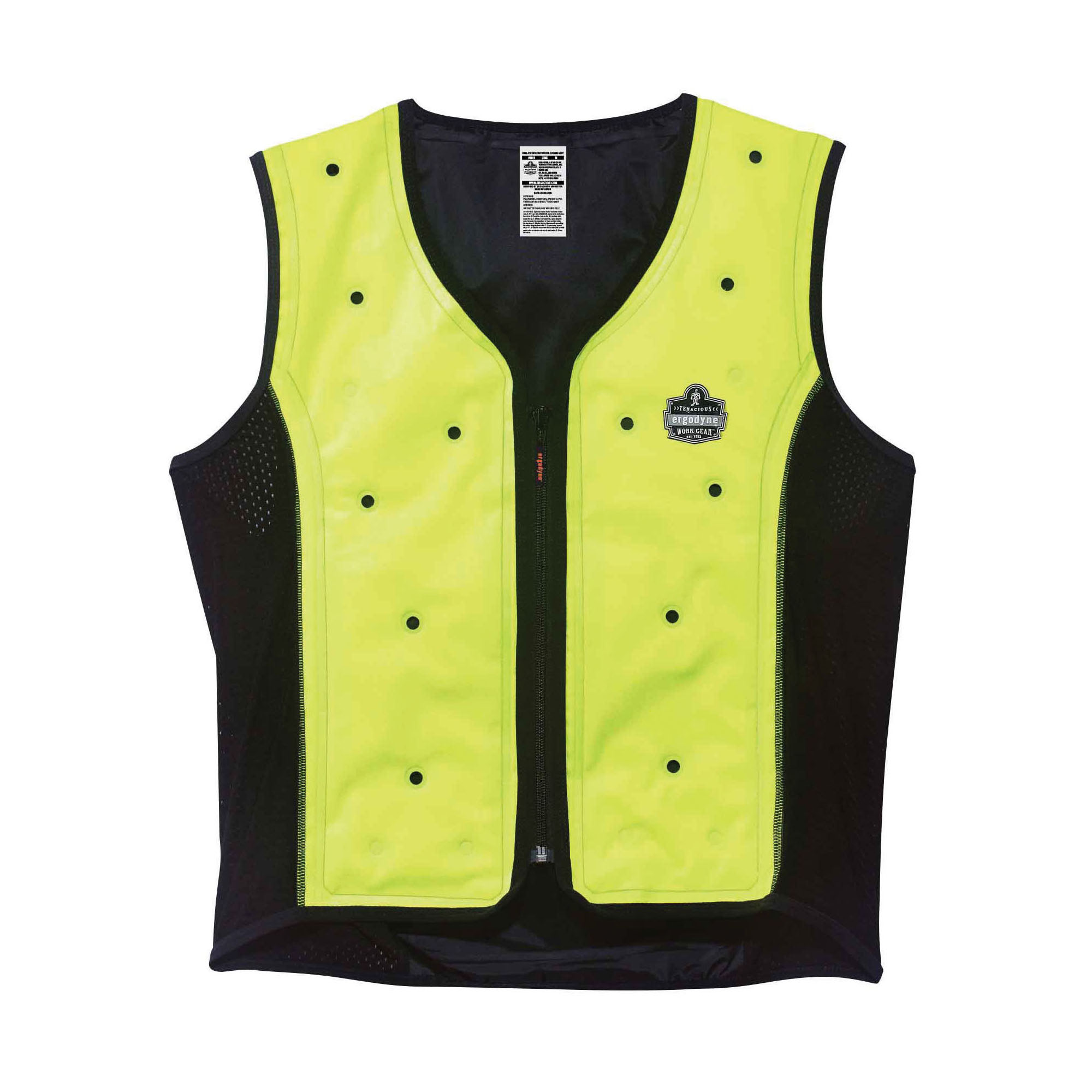 Chill-Its® 6685 Dry Evaporative Cooling Vest, Lime, Shell Fabric/50% Polyester/50% Polyurethane, Zipper Closure