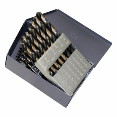 Cle-Line® C18122 1879 Heavy Duty Jobber Length Drill Set, 1/16 in Min Drill Bit, 1/2 in Max Drill Bit, 135 deg Drill Point Angle, 29 Pieces, HSS, Black/Gold