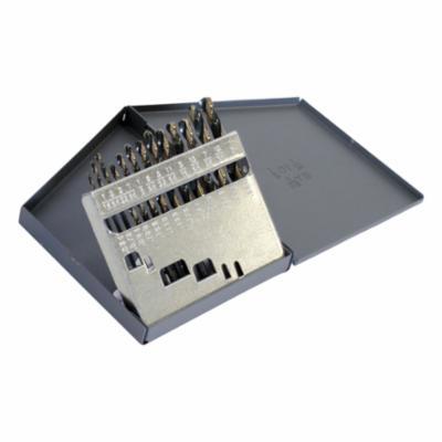 Cle-Line® C18126 1875R Heavy Duty Mechanics Length Drill Set, 1/16 in Min Drill Bit, 1/4 in Max Drill Bit, 135 deg Drill Point Angle, 13 Pieces, HSS, Black/Gold