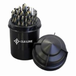 Cle-Line® Bit Barrel™ C18128 1878 Heavy Duty Jobber Length Drill Set, Imperial, 1/16 in Min Drill Bit, 1/2 in Max Drill Bit, 135 deg Drill Point Angle, 29 Pieces, HSS, Black/Gold