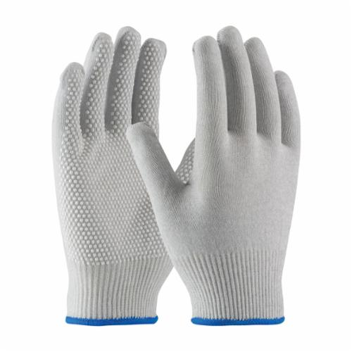 PIP® CleanTeam® 40-6411 Electrostatic Dissipative Antistatic Gloves, Full Finger/Seamless, Carbon Fiber/Nylon/Synthetic, Gray/White, Continuous Knit Wrist Cuff, PVC Dots, 8.7 in L, Resists: Abrasion, Cut, Puncture and Tear, Pair Hand