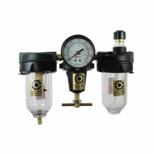 Coilhose® 8884AAG Series 88 Heavy Duty Filter/Regulator/Lubricator Unit With Manual Drain and Gauge, 1/2 in FNPT Port, 80 cfpm Flow Rate, Polycarbonate Bowl, 0 to 125 psi Pressure