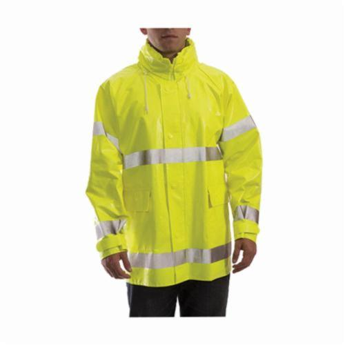 Tingley Comfort-Brite® J53122-3X Flame Resistant Jacket, Men's, 3XL, Fluorescent Yellow/Green, Polyester/PVC, Resists: Flame, Mildew, Acid, Oil, Alcohols, Salts and Alkalis, ANSI/ISEA 107 Type R Class 3, Detachable Hood