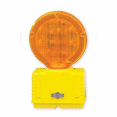 Cortina® 03-10-3WAY6V Barricade Light, Yellow/Amber, 7 in Dia Head, Polyethylene Housing, Fresnel Glass Lens, 6 V with Photocell, Bolt Mount