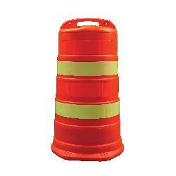Cortina® TrailBOSS™ 03-780-4EG Channelizer Drum, 18 in Dia x 41-1/2 in H, Orange HDPE Barrel, Orange/White Stripe, 4 Stripes