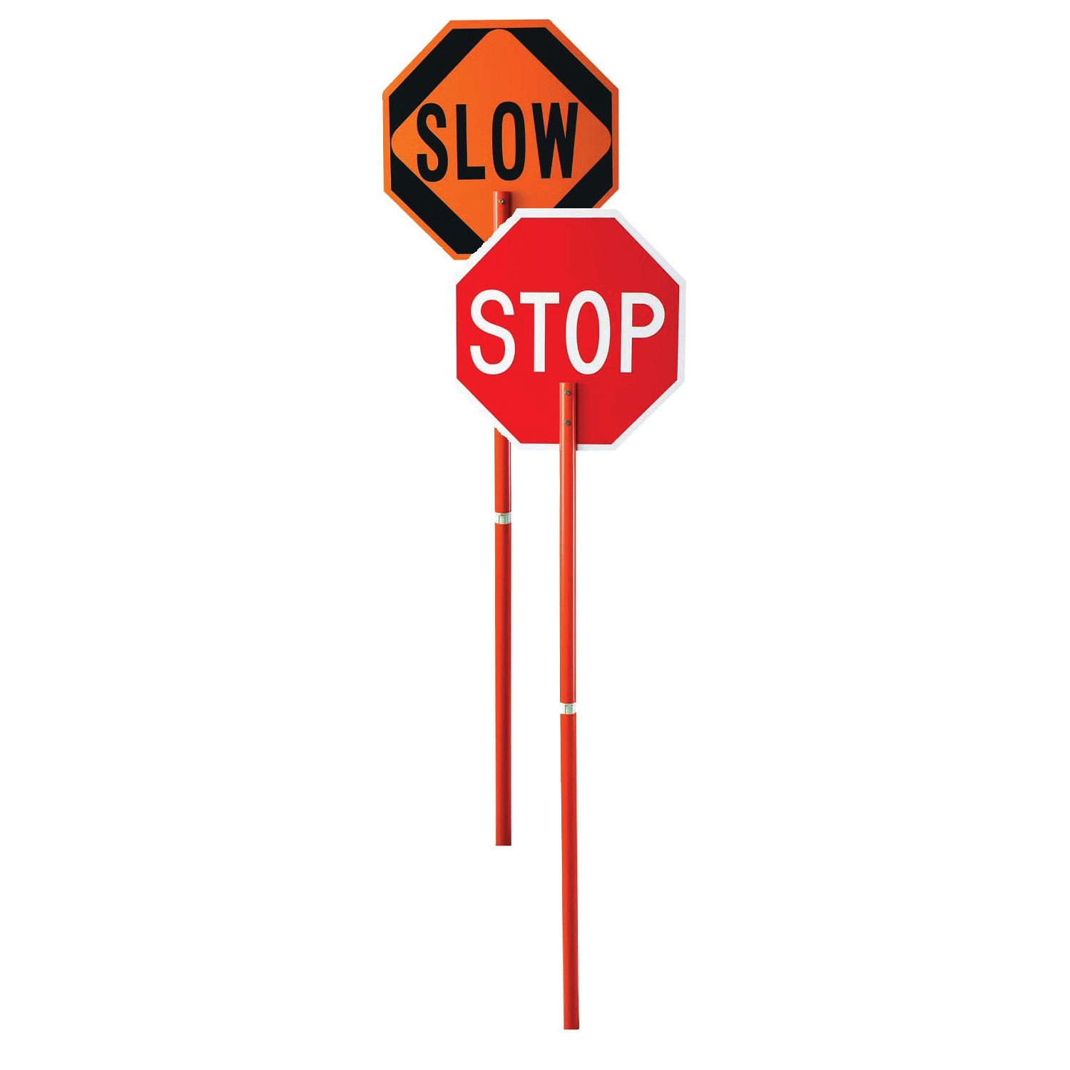 Cortina® 03-822P Stop/Slow Paddle With 81 in Handle, ABS, 24 in H x 24 in W Sign, Orange/Red, 8 in H Letter