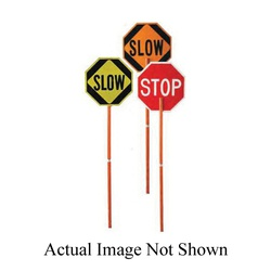 Cortina® 03-823P Stop/Slow Paddle With 81 in Handle, ABS, 24 in W x 24 in H Sign, Orange/Red, 8 in H Letter