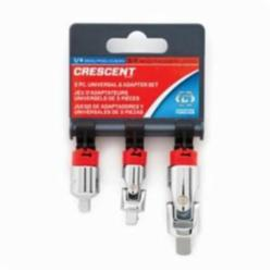 Crescent® CDTA14 3-Piece Universal Joint and Adapter Set, 1/4 in Male x 3/8 in Female Drive, 45 deg