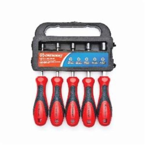 Crescent® CND5SAE Nut Driver Set, 1/4 to 7/16 in, 5 Pieces, 7-1/4 in OAL, Cushion Grip Handle, Plastic/Steel, Polished Chrome