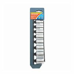 Crescent® CSAS0 Socket Set, Imperial, 12 Points, 8 Pieces, Plastic Socket Rail Container, Polished Chrome/Nickel Plated/Mirror-Polished