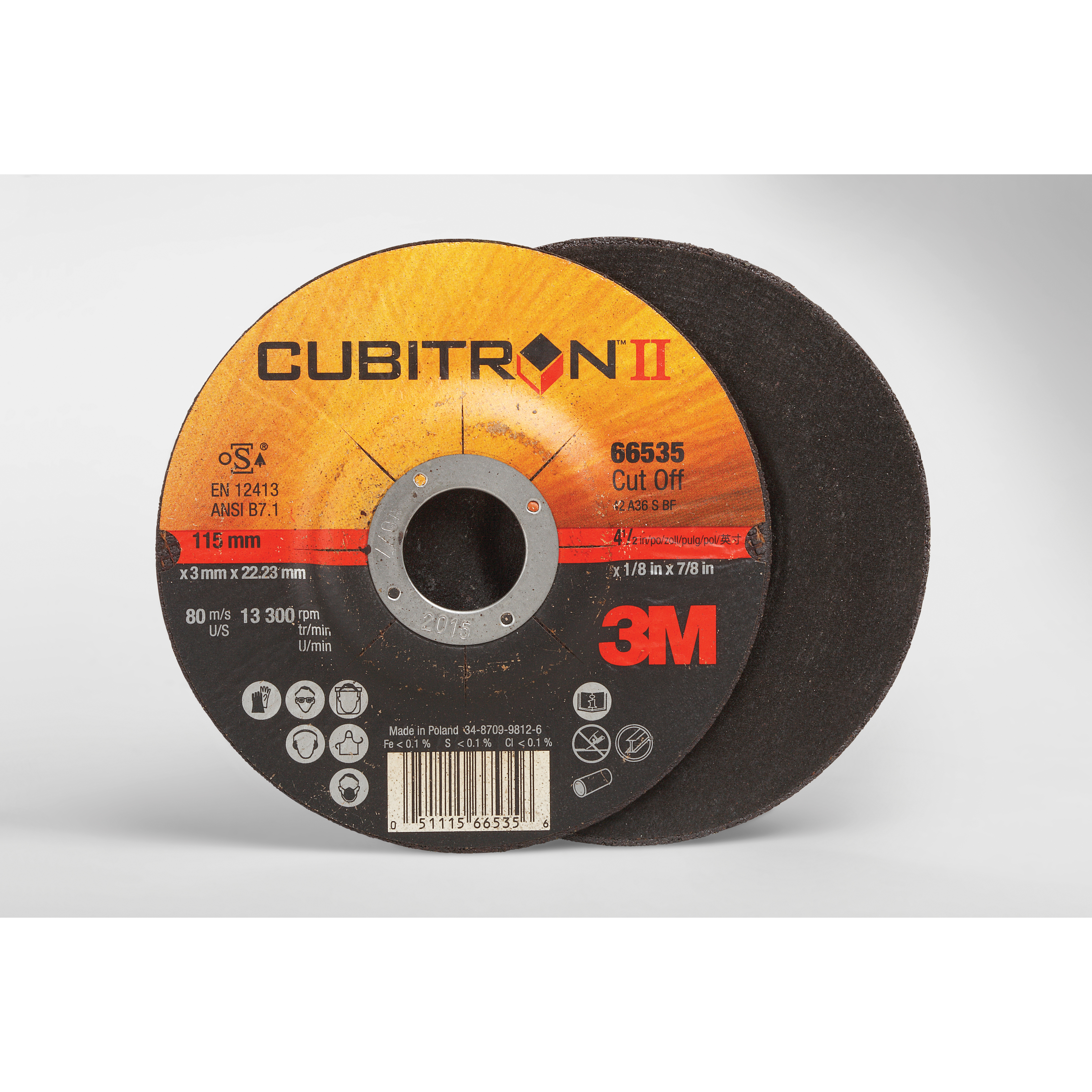 3M™ Cubitron™ II 051115-66535 COW Type 27 Cut-Off Wheel, 4-1/2 in Dia x 1/8 in THK, 7/8 in Center Hole, 36 Grit, Precision Shaped Ceramic Abrasive