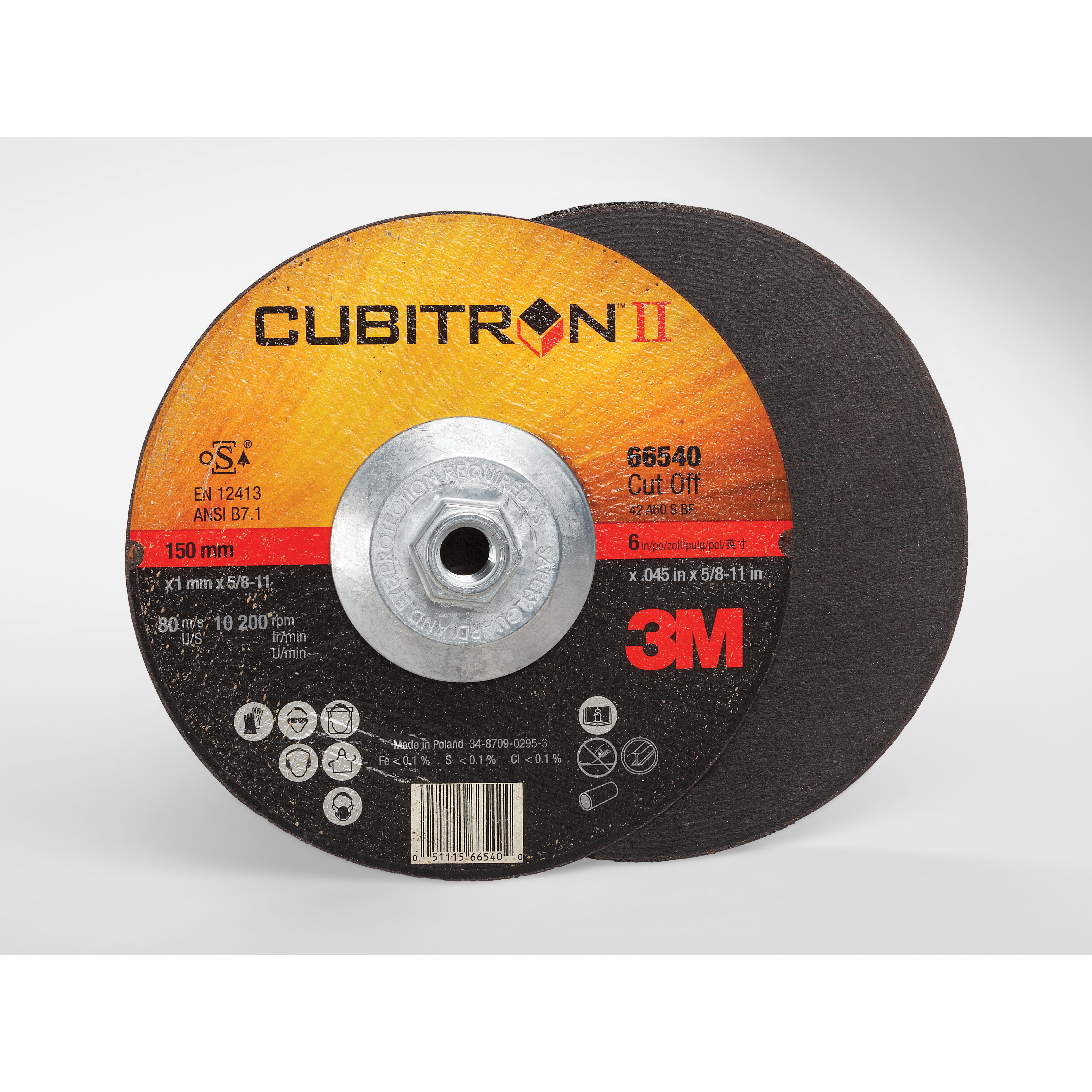 3M™ Cubitron™ II 051115-66540 Type 27 Cut-Off Wheel, 6 in Dia x 0.045 in THK, 60 Grit, Precision Shaped Ceramic Abrasive