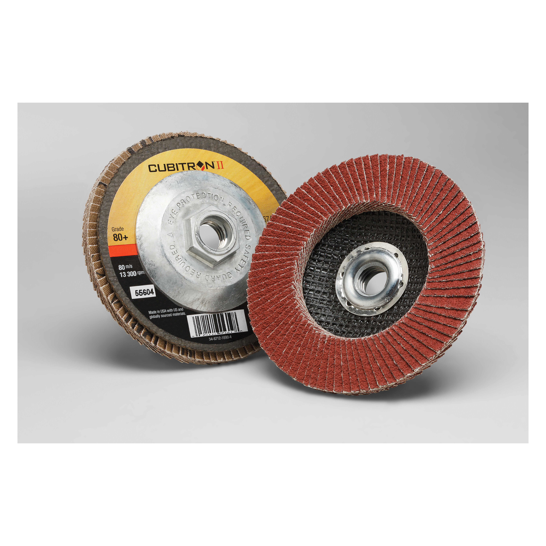3M™ Cubitron™ II 051141-55604 967A Threaded Coated Flap Disc, 4-1/2 in Dia Disc, 80+ Grit, Medium Grade, Precision Shaped Ceramic Abrasive, Type 27 Disc