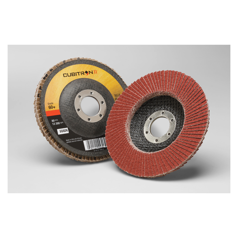 3M™ Cubitron™ II 051141-55606 967A Coated Flap Disc, 4-1/2 in Dia Disc, 7/8 in Center Hole, 60+ Grit, Medium Grade, Precision Shaped Ceramic Abrasive, Type 27 Disc
