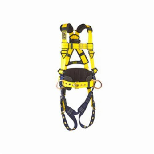 3M DBI-SALA Fall Protection 1101656 Delta™ Multi-Purpose Harness, XL, 420 lb Load, Repel™ Polyester Strap, Tongue Leg Strap Buckle, Quick-Connect Chest Strap Buckle, Navy/Yellow