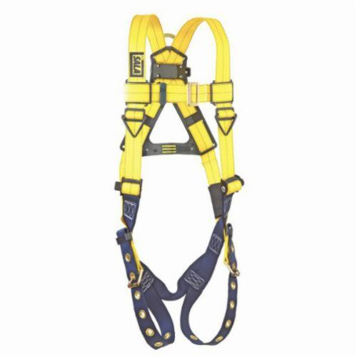 3M DBI-SALA Fall Protection 1102000 Delta™ Multi-Purpose Unisex Harness, Universal, 420 lb Load, Polyester Strap, Tongue Leg Strap Buckle, Pass-Thru Chest Strap Buckle, Stainless Steel Grommet Leg Buckle/Zinc Plated Steel Chest Buckle Hardware, Blue/Yellow
