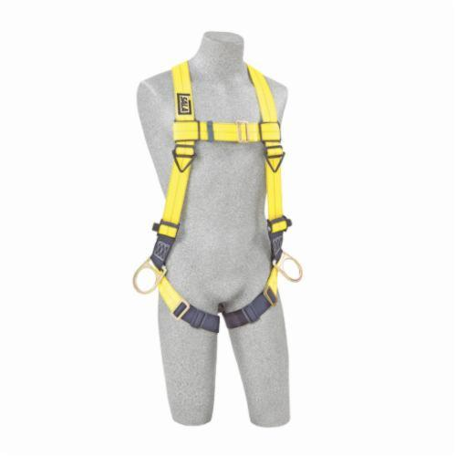 3M DBI-SALA Fall Protection 1103875 Delta™ Unisex Harness, Universal, 420 lb Load, Repel™ Polyester Strap, Pass-Thru Leg Strap Buckle, Quick-Connect Chest Strap Buckle, Steel/Aluminum/Stainless Steel Hardware, Navy/Yellow