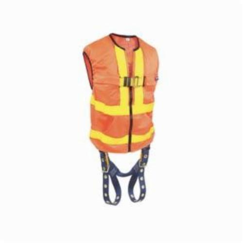 3M DBI-SALA Fall Protection 1107405 Delta Vest™ Multi-Purpose Reflective Workvest Harness, L, 420 lb Load, Polyester Strap, Tongue Leg Strap Buckle, Parachute Chest Strap Buckle, Steel Chest/Torso Buckle/Stainless Steel Grommet Leg Buckle Hardware