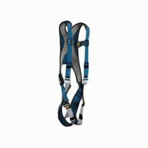 3M DBI-SALA Fall Protection 1107977 ExoFit™ Harness, L, 420 lb Load, Polyester Strap, Quick-Connect Leg Strap Buckle, Quick-Connect Chest Strap Buckle, Steel Leg Buckle/Steel/Steel Torso Buckle Hardware, Blue