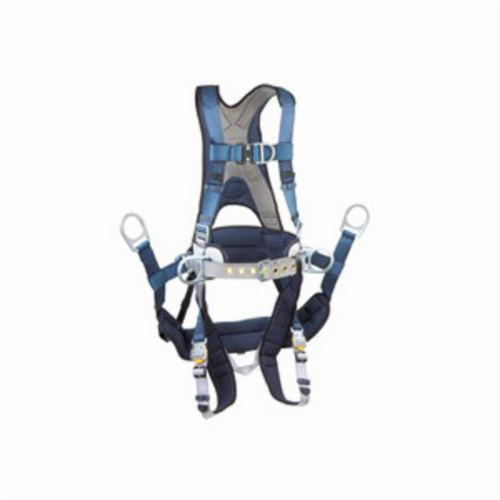 3M DBI-SALA Fall Protection 1108652 ExoFit™ Harness, L, 420 lb Load, Polyester Strap, Quick-Connect Leg Strap Buckle, Quick-Connect Chest Strap Buckle, Aluminum/Steel Hardware, Blue