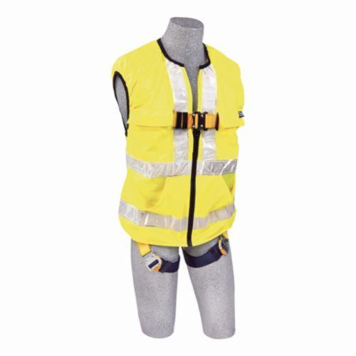 3M DBI-SALA Fall Protection 1111584 Delta™ High Visibility Unisex Workvest Harness, Universal, 420 lb Load, Polyester Strap, Quick-Connect Leg Strap Buckle, Parachute Chest Strap Buckle, Steel Hardware, Yellow